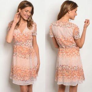 Le Lis • Peach Floral Wrap Dress